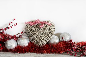 Heart laying in Christmas decor