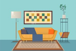 Living room interior design with furniture ouch, pillows, chest of shelves, books, decorations. Isolated vector objects.Flat vector illustration
