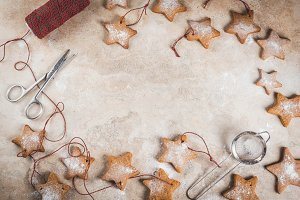 Christmas gingerbread star cookies
