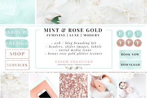 Mint Rose Gold Web Blog Branding Kit
