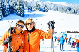 Senior Couple Skiing