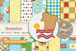 Breakfast Digital Papers & Clipart