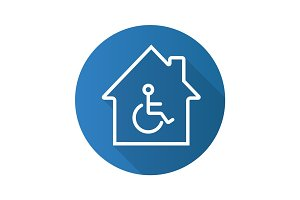 Handicap hospital flat linear long shadow icon