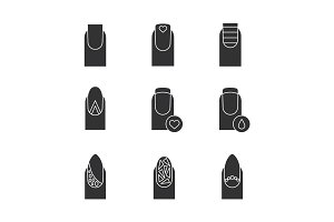 Manicure glyph icons set