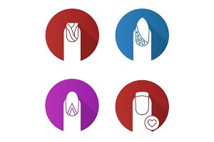 Manicure flat design long shadow glyph icons set