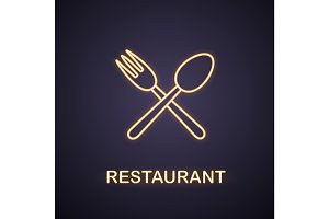 Eatery neon light icon