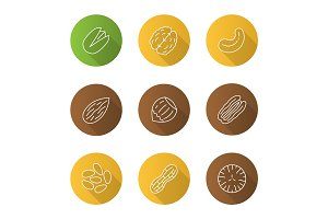 Nuts types flat linear long shadow icons set