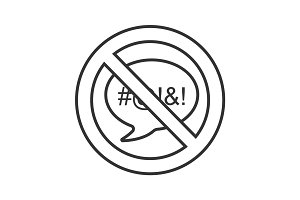Forbidden sign with speech bubble linear icon