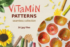 Seamless fruit patterns