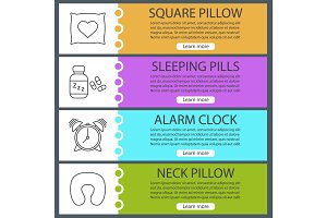 Sleeping accessories web banner templates set