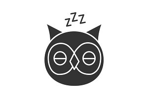 Sleeping owl glyph icon