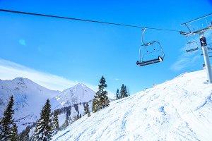 Ski Lift In The Austrian Alps