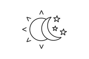 Sun and moon with stars linear icon