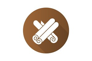 Cinnamon flat design long shadow glyph icon