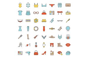 Women's accessories color icons set