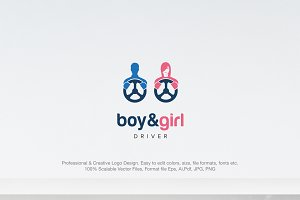 Boy and Girl Driver Logo
