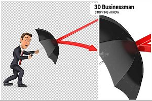 3D Businessman Stopping Arrow