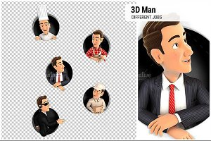 3D Man in Different Jobs