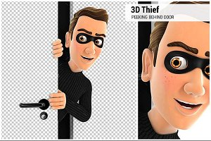 3D Thief Peeking Behind a Door
