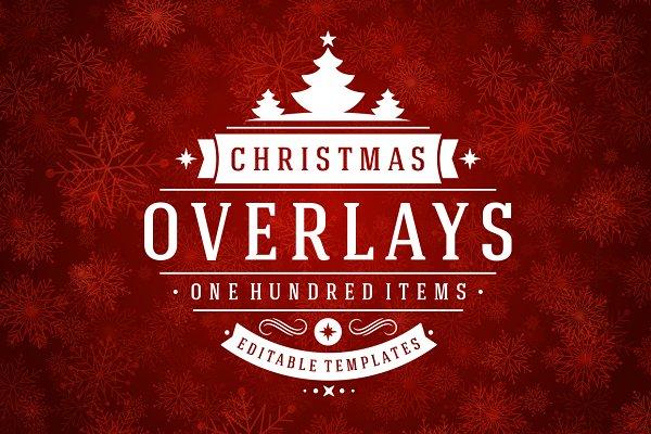 100 Christmas photo overlays