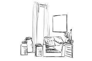 Modern interior room sketch. Hand drawn chair and pillow.