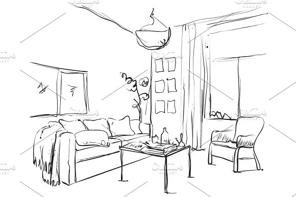 Hand drawn sketch of modern living room interior with a sofa ...