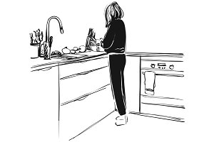 Sketch of woman on kitchen. Hand drawn illustration