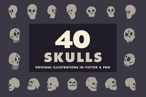 40 illustrated skulls in vector