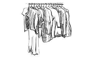 Hand drawn wardrobe sketch. Clothes