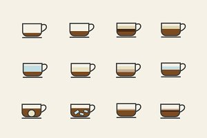 12 Coffee Type Icons
