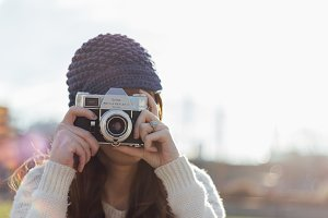 Woman with a Retro Camera