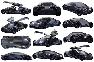 Car concept auto dark purple set