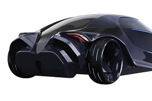 Car concept futuristic vehicle, close view