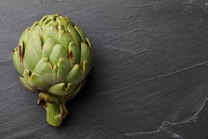 Fresh ripe artichoke close up
