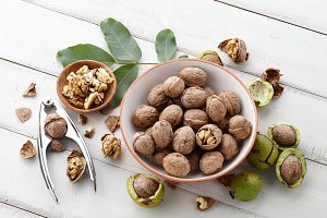 Fresh autumn walnuts bowl