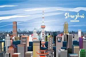 Shanghai China City Skyline.