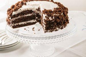Chocolate layer cake on server