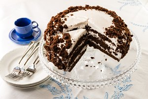 Chocolate layer cake on server