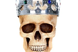 Human skull with silvered crown