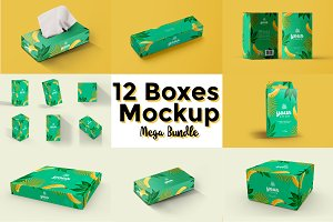 12 Boxes Mockup - Mega Bundle