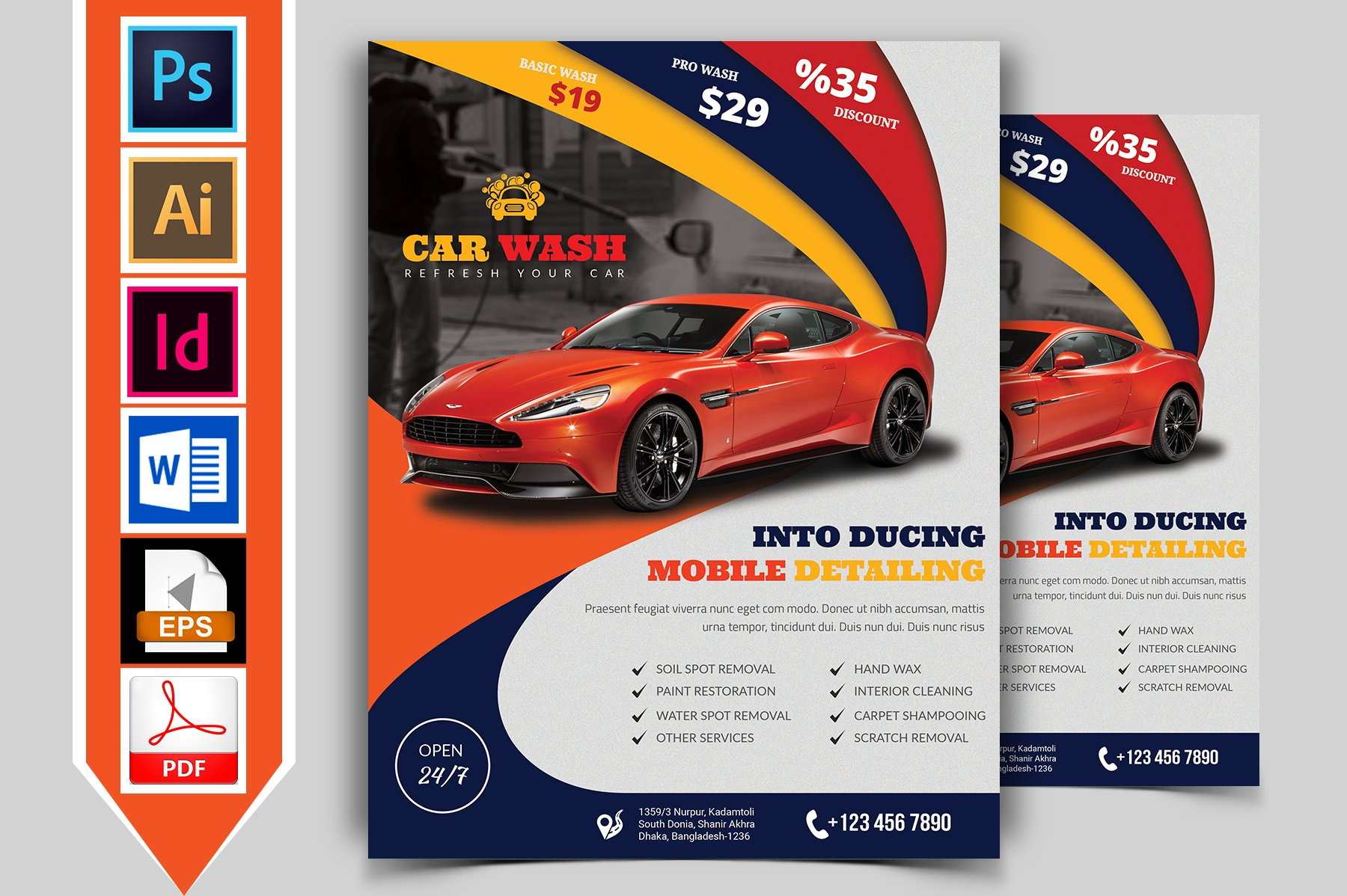 Car wash flyer template vol 02 flyer templates for Car wash poster template free