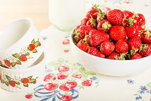 Strawberries and bowls