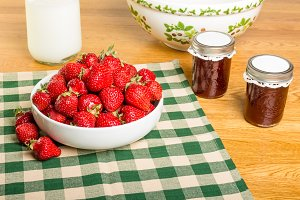Strawberries milk and jars