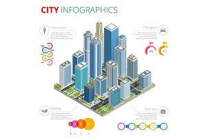 City Infographics. Isometric vector city with skyscrapers, streets and vehicles, commercial and business area infographic with graphs, icons and diagrams.