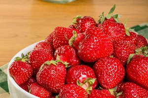 Bowl of ripe strawberries