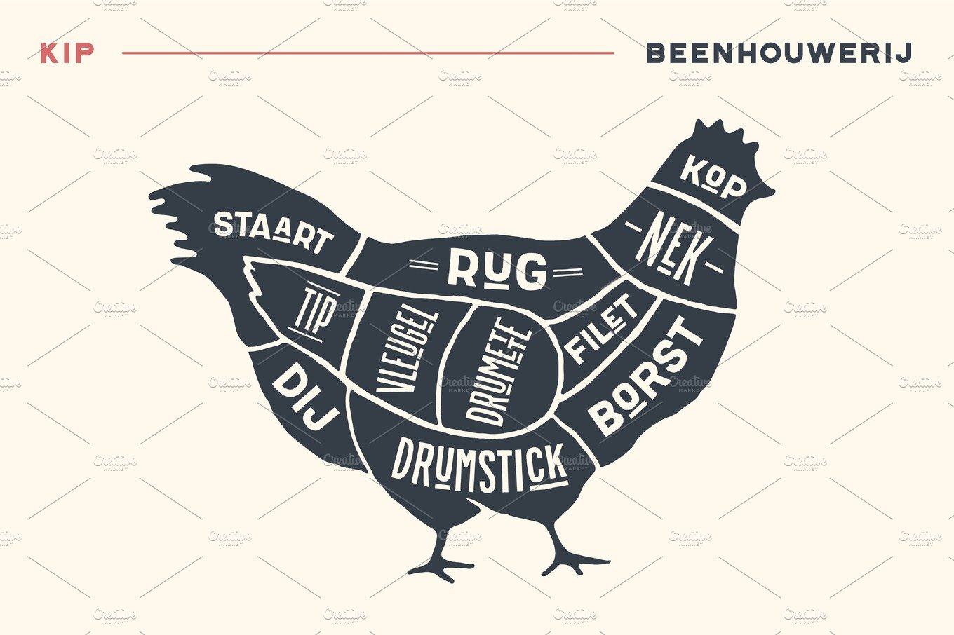 Meat Cuts Poster Butcher Diagram And Scheme Chicken Detailed Wing Of A Illustrations Creative Market
