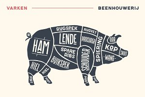 Meat cuts. Poster Butcher diagram and scheme - Pork
