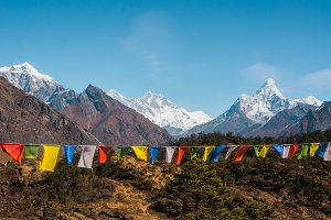 Mountains and prayer flags