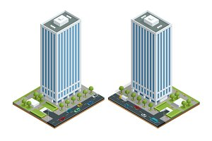 Isometric city houses composition with building and road isolated vector illustration. Collection of urban elements architecture, home, road, intersection, traffic light and cars