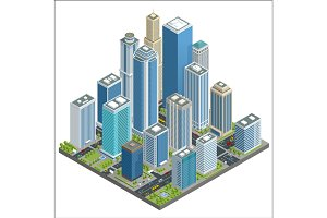 Vector isometric city center map with skyscrapers, offices, stores, streets, vehicles, commercial and business area used for workflow layout, game, diagram, number options, web design and infographics